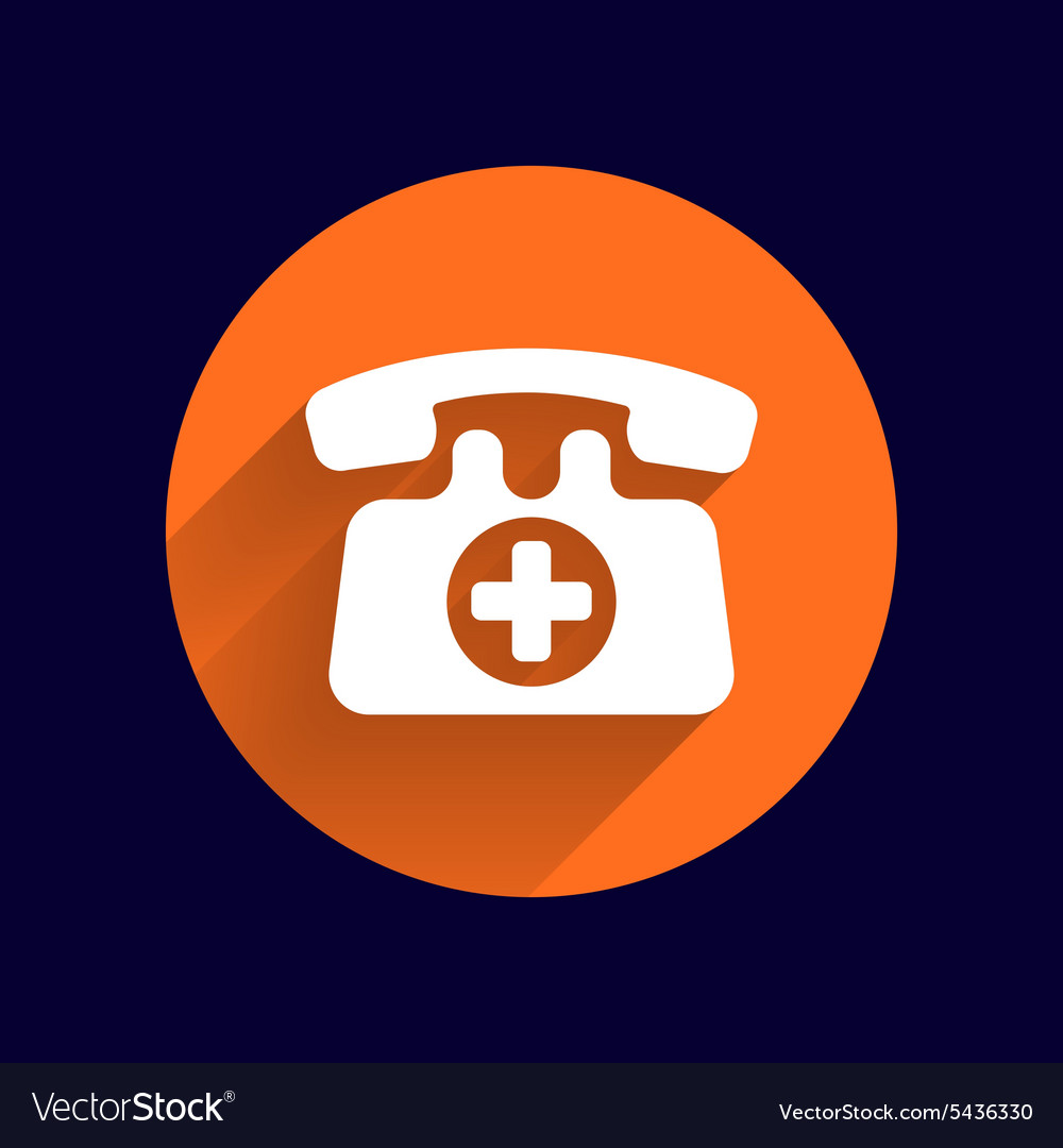 Emergency call sign icon fire phone number vector image