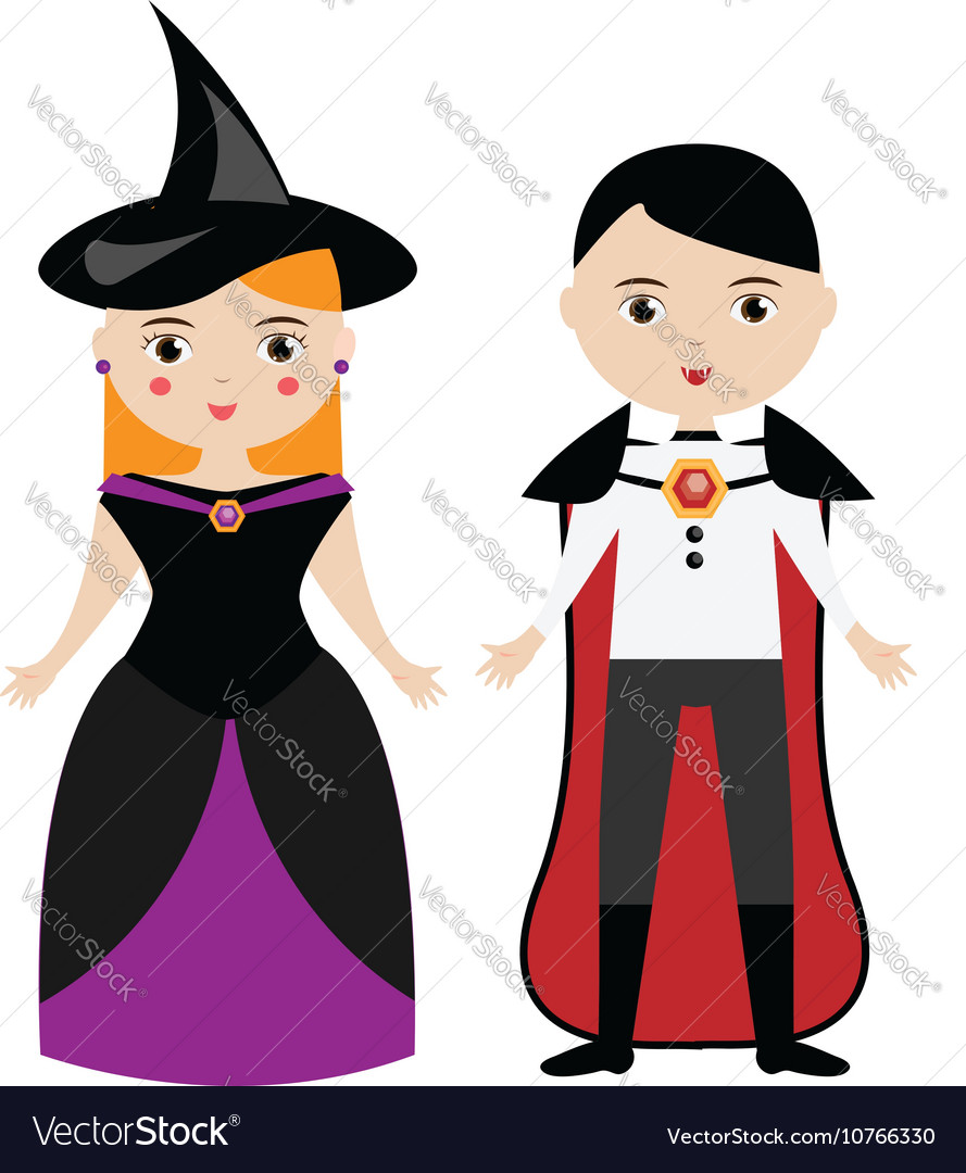 Halloween witch and vampire characters