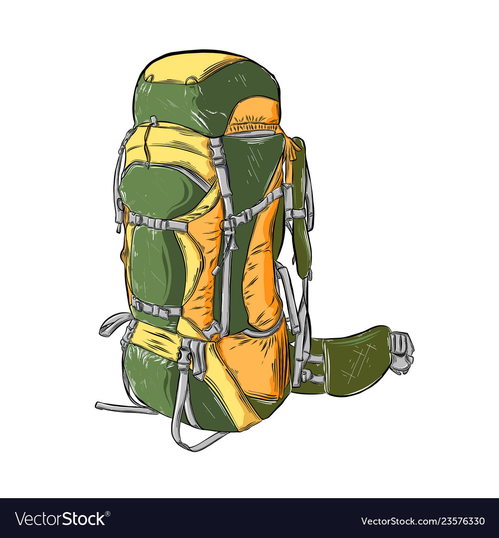 Hand drawn sketch of camping backpack in color