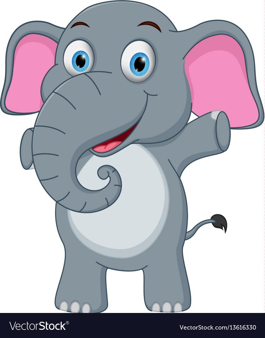 Happy baby elephant cartoon vector image