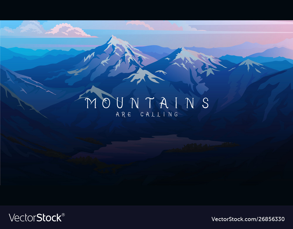 Layered mountains banner dark blue landscape and