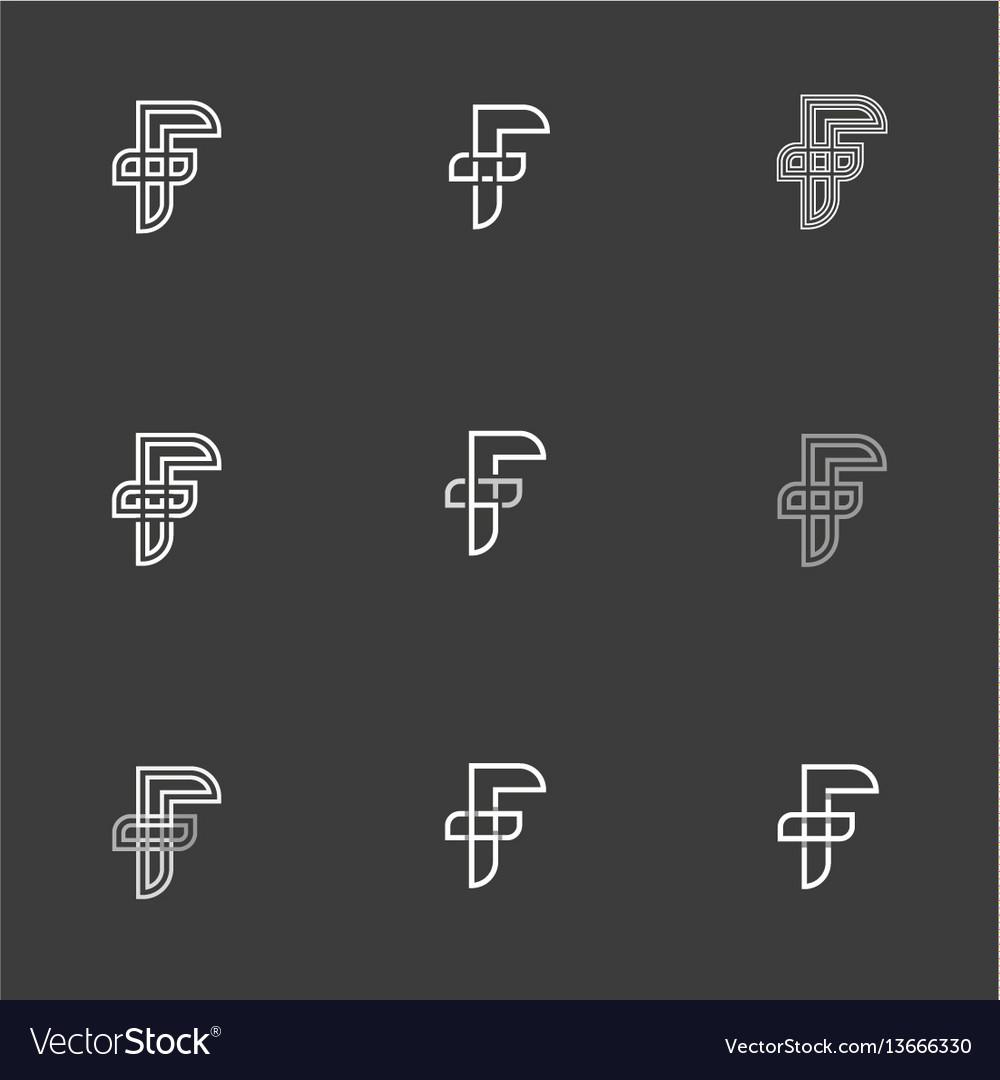 Letter f set signs monogram minimalism