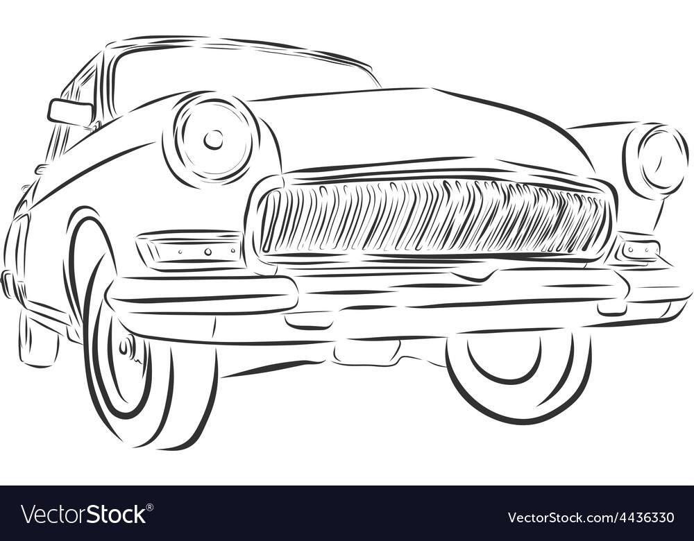 Retro car or Vintage on a white background
