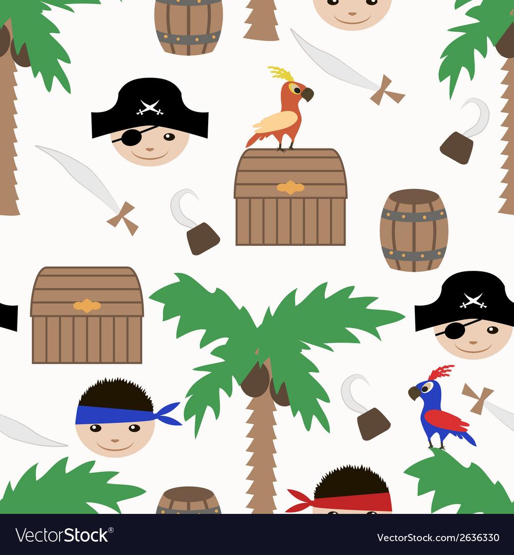 Seamless pirate colorful kids retro pattern