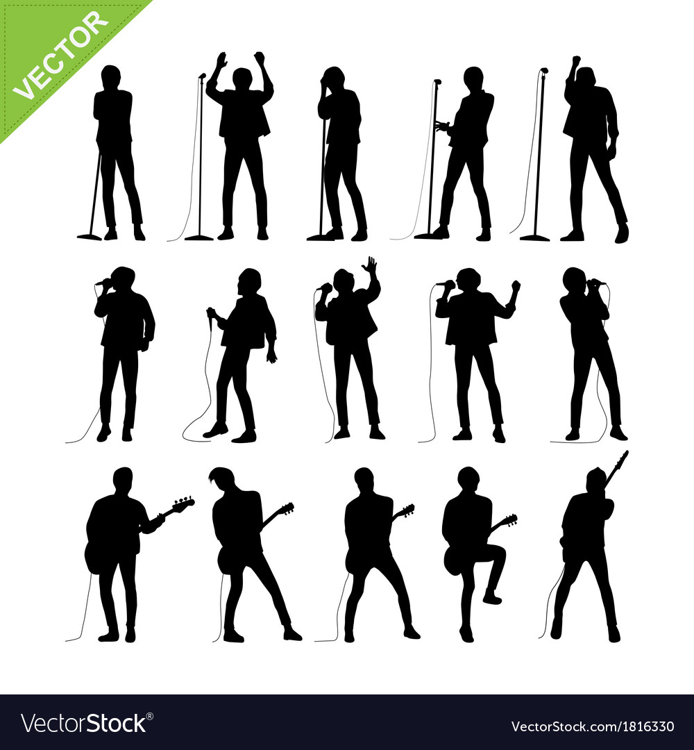 singer and musicians silhouettes royalty free vector image