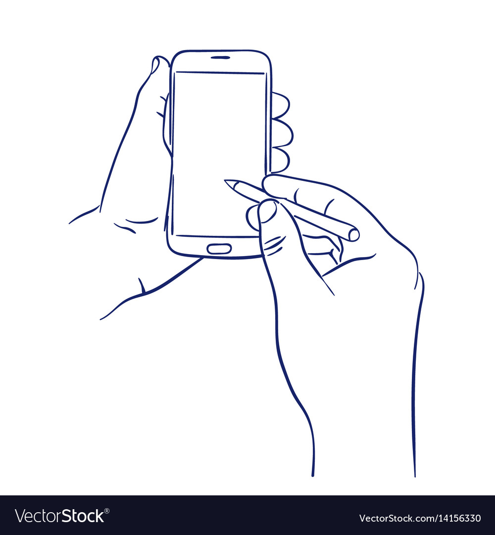 Smart phone control with stylus vector image
