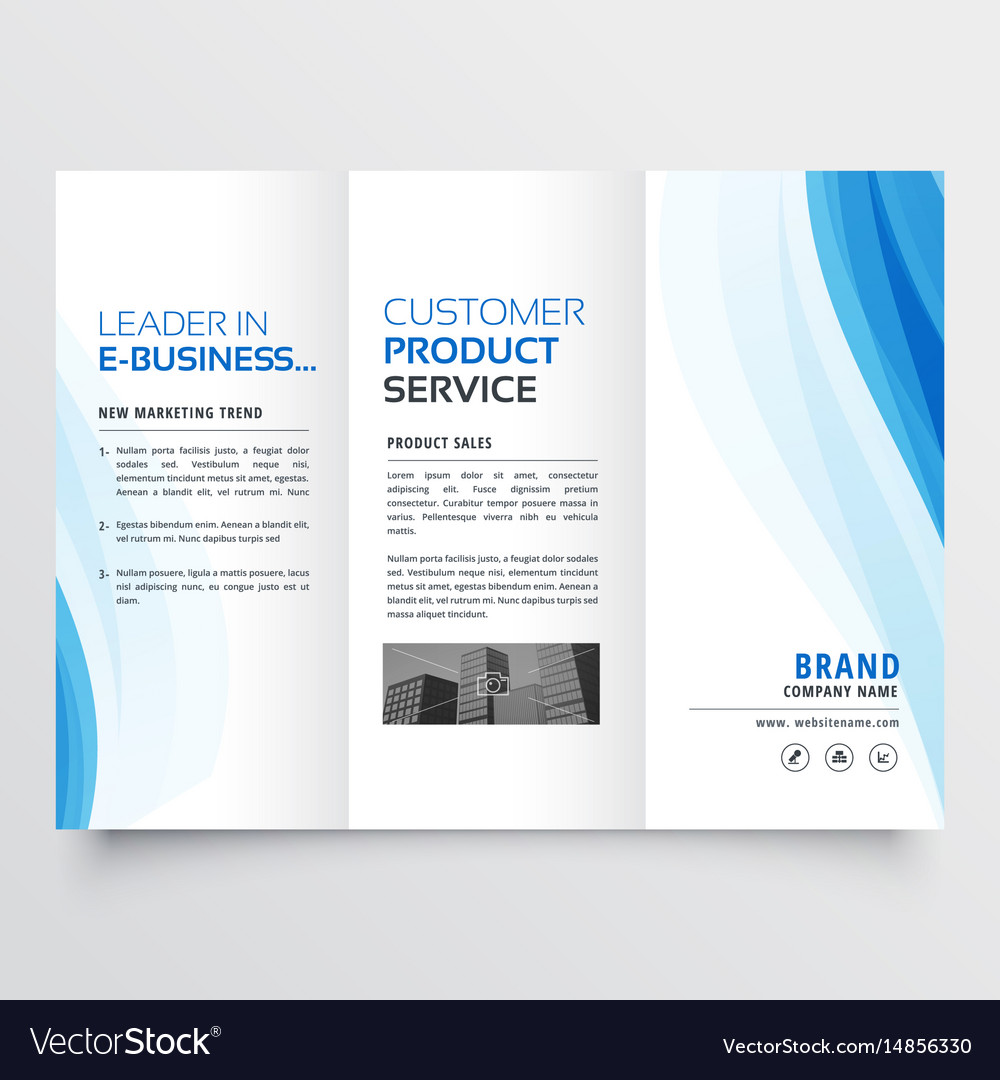 trifold brochure design template with blue wavy vector image