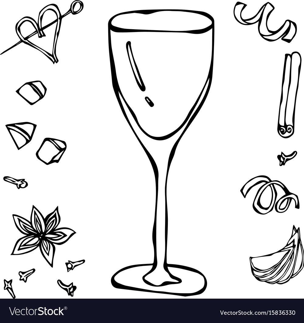 White wine glass hand drawn