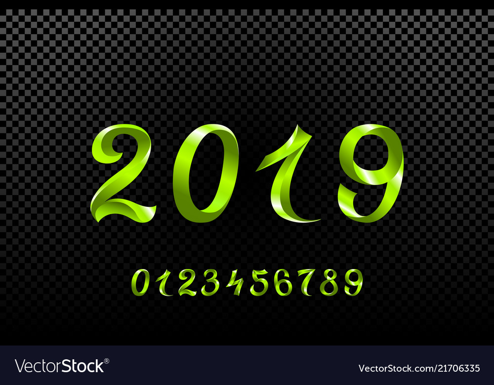 2019 green new year sign with glitter and loading