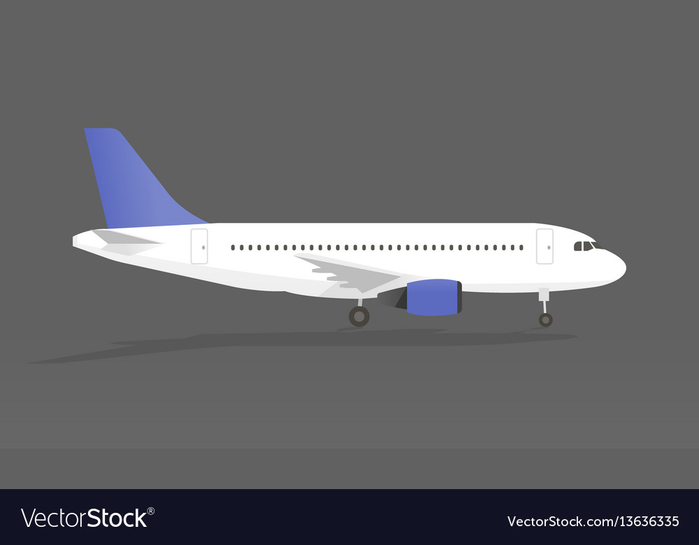 Airplane with shadow in gray background