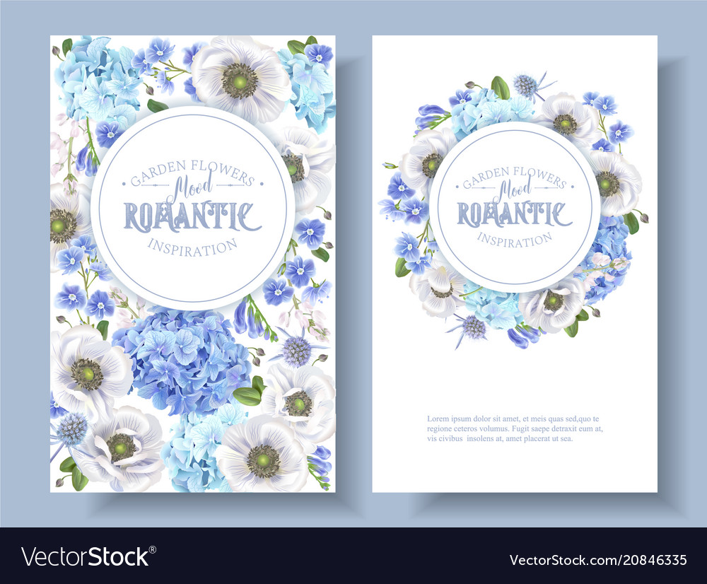 Blue anemone round banners