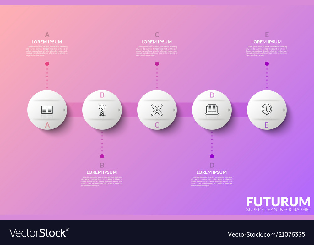 Five white round elements with linear icons