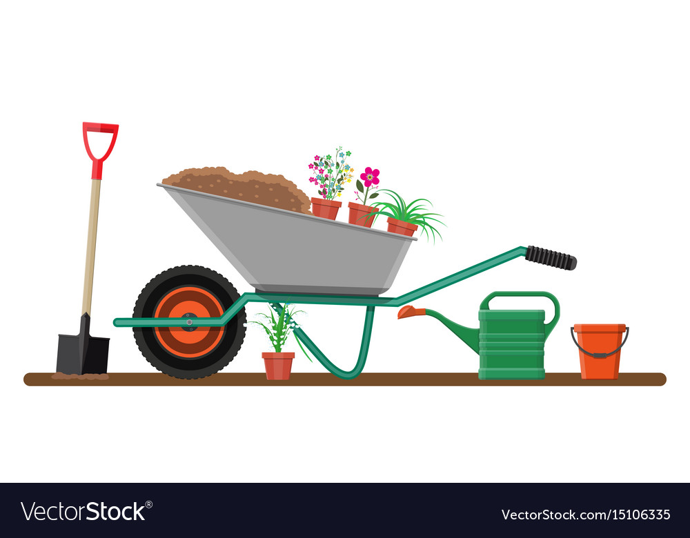 Formal garden with wheelbarrow flowers shovel