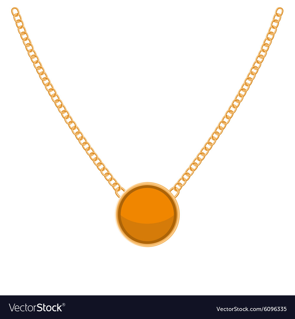 Golden Chain with Gold Blank Precious Necklaces vector image