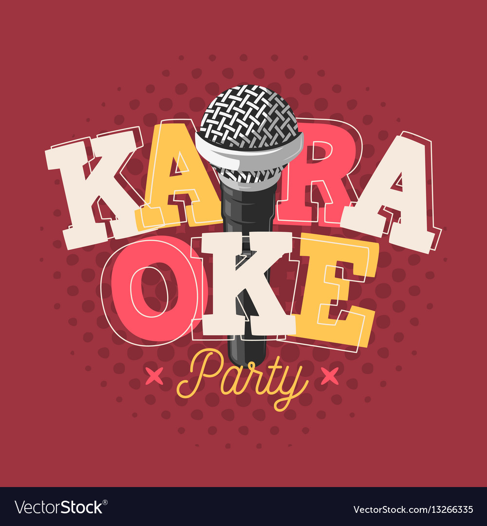 Karaoke label sign design with microphone