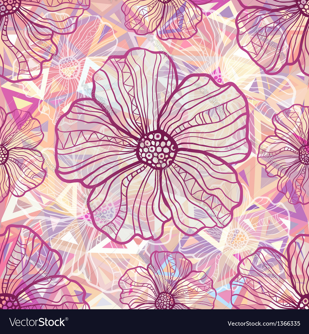 Ornate pink flowers on abstract triangles vector image