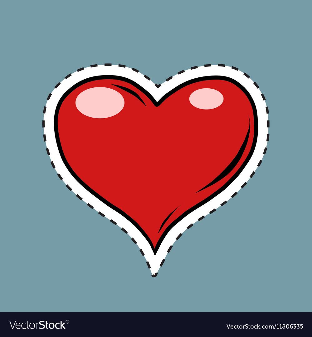 Red heart Valentine pop art retro label sticker
