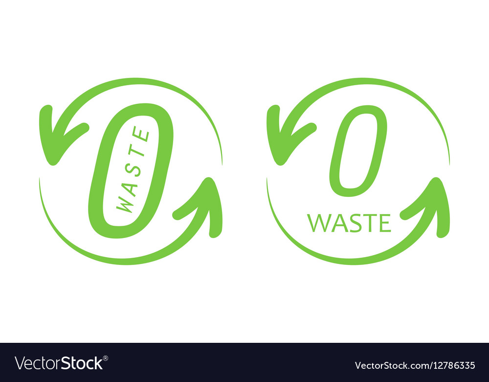 Set collection of zero waste trendy green signs