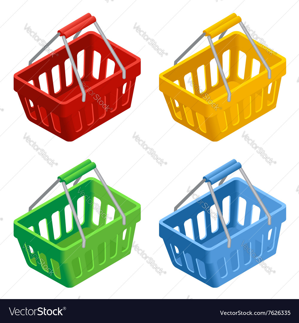 Shopping basket icon set Colorful shopping basket