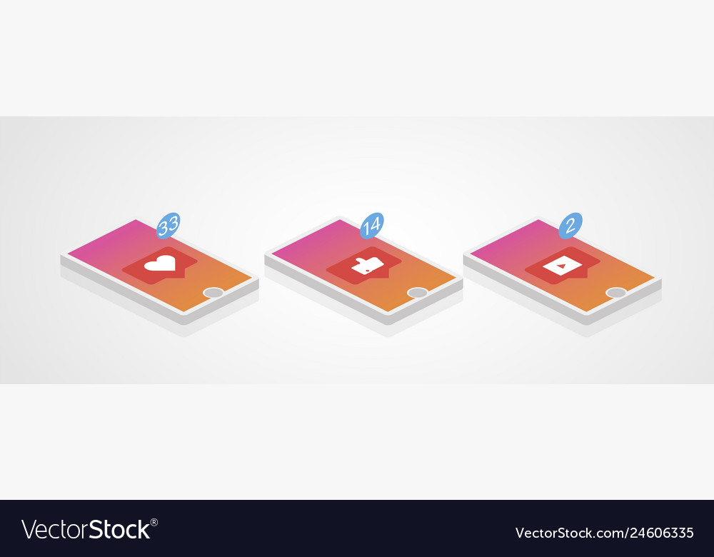 Social network phone set in isometric style media