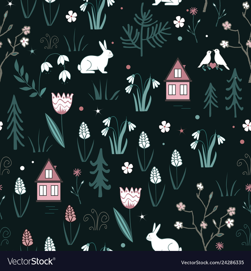 Spring forest seamless pattern with rabbits birds