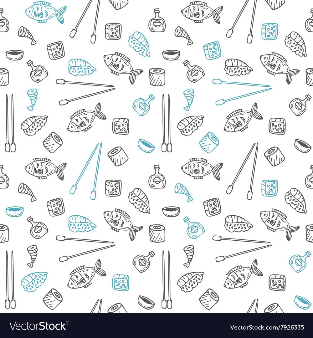 Sushi and rolls seamless pattern Hand drawn