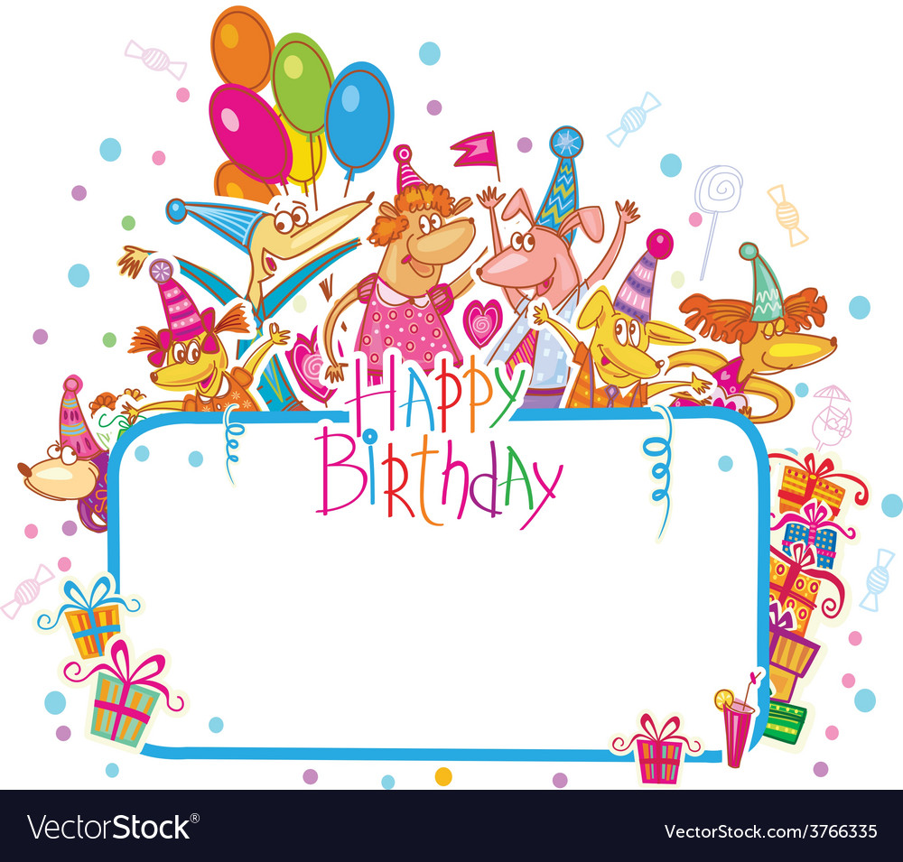 Template For Happy Birthday Card With Place Vector Image