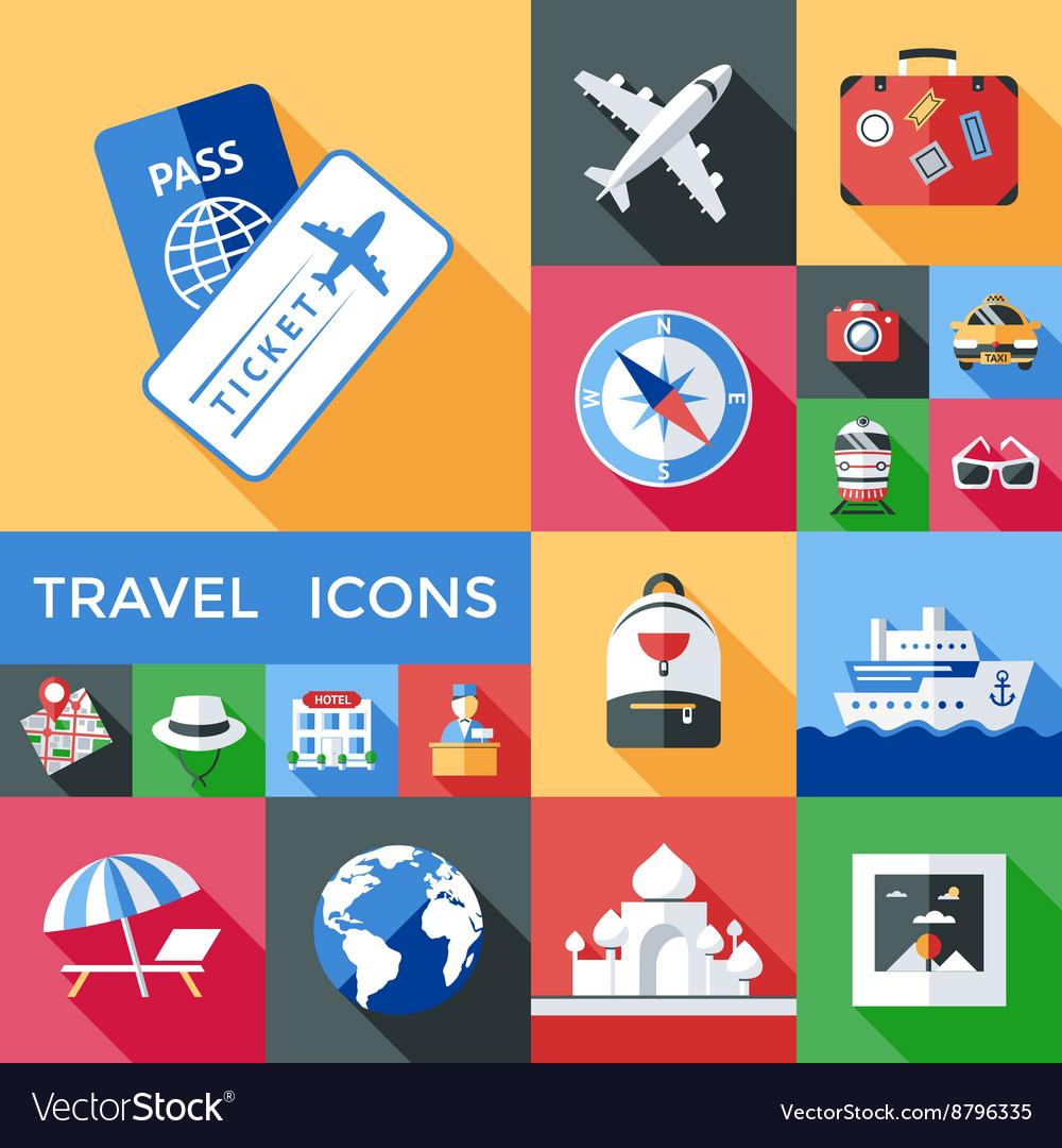 Travel Shadowed Icon Set