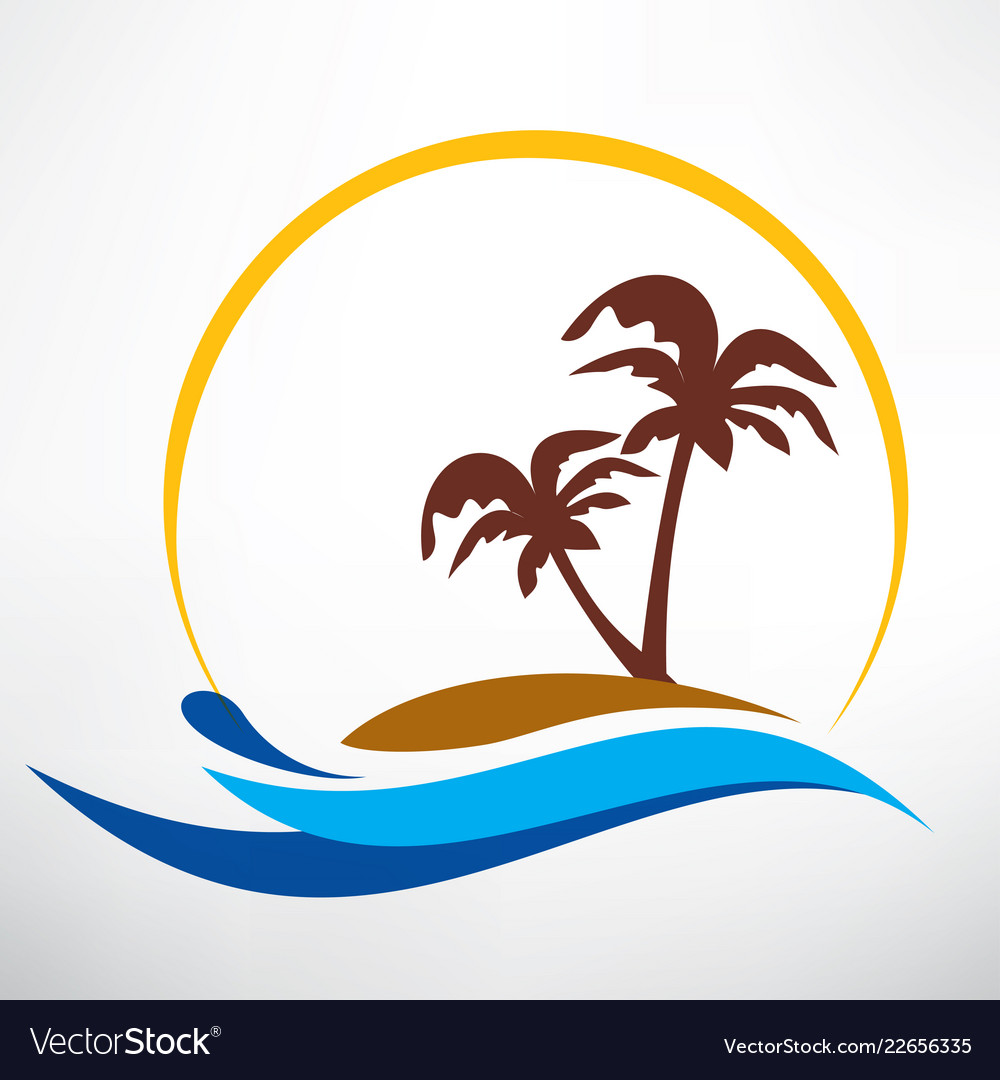 Wave sun and palm symbol travel and summer time