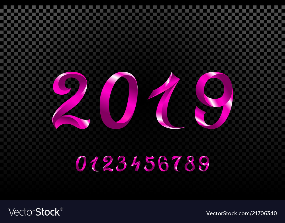 2019 pink new year sign with glitter and loading