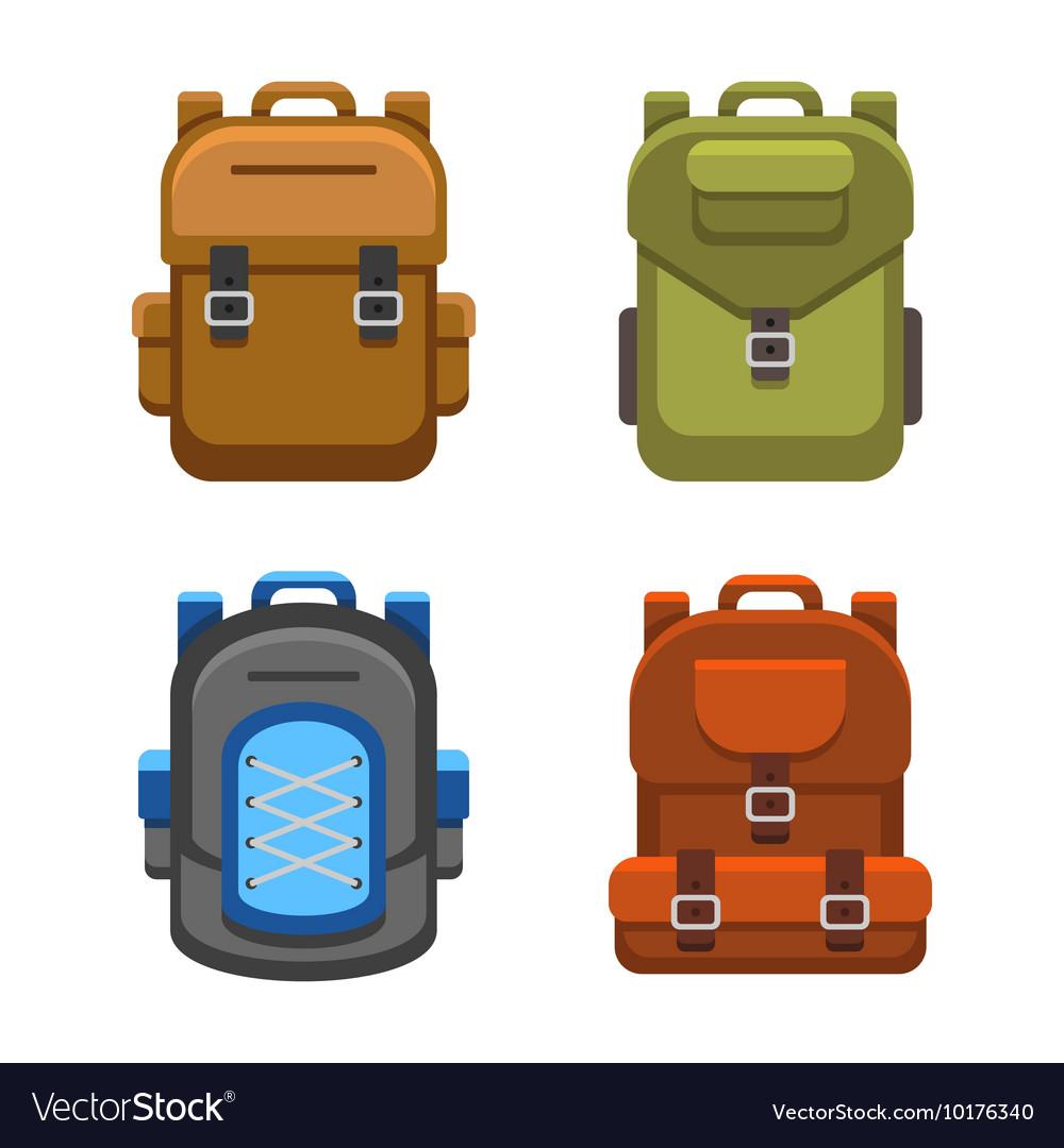 Backpack Bag Flat Style Set