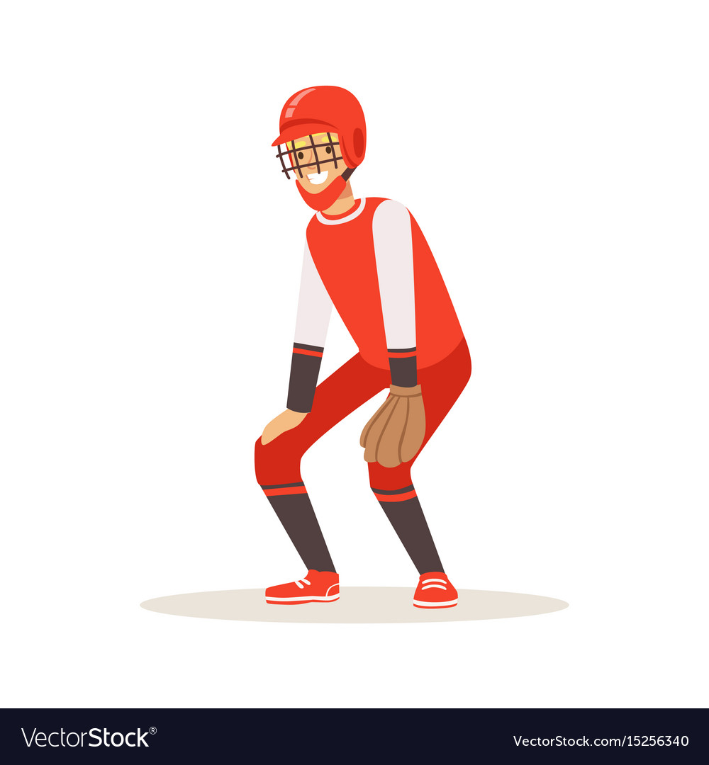 Baseball player in a red uniform trying to catch vector image