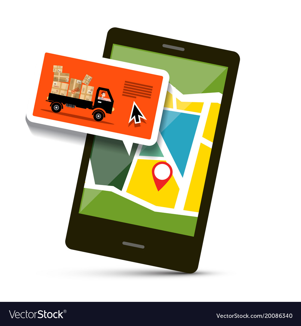 Cell phone with map and van with parcels Vector Image on
