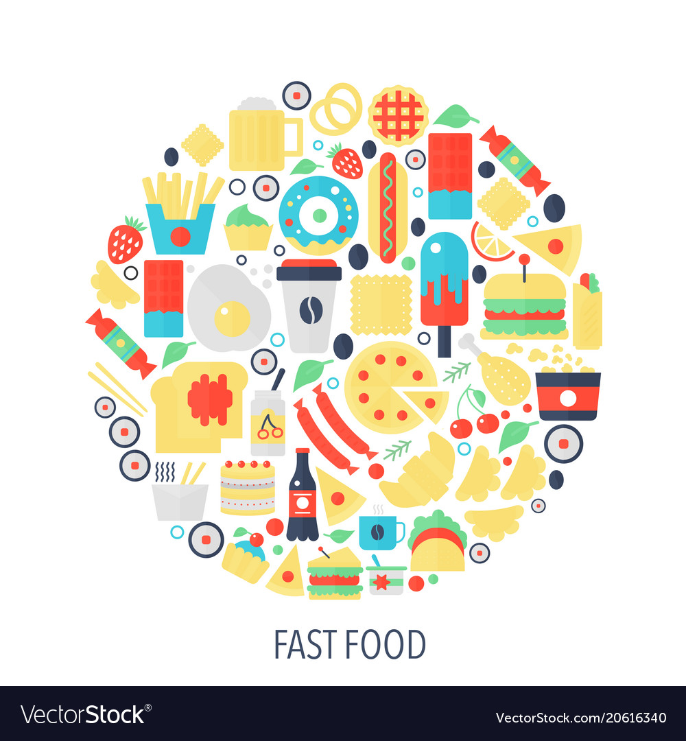 Fast food flat infographics icons in circle