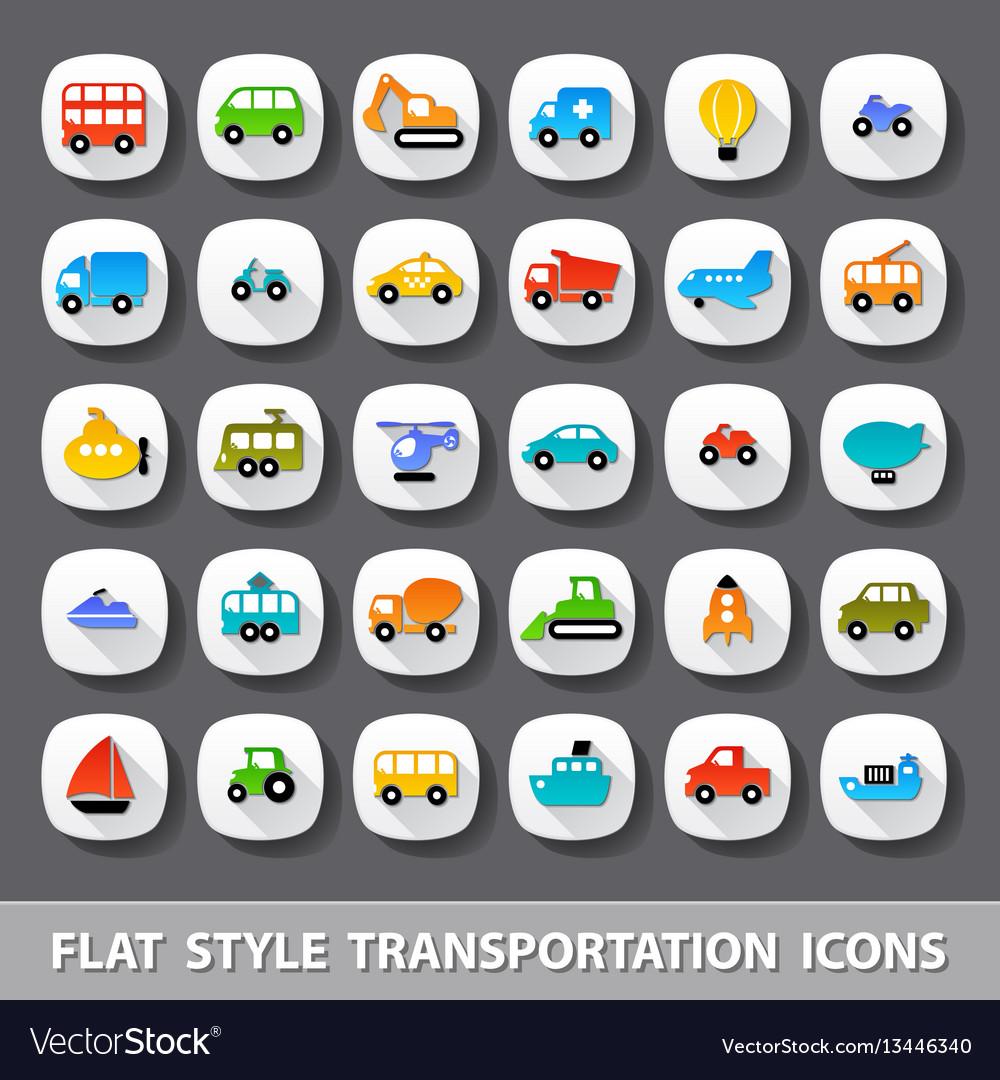 Flat style transportation icons vector image