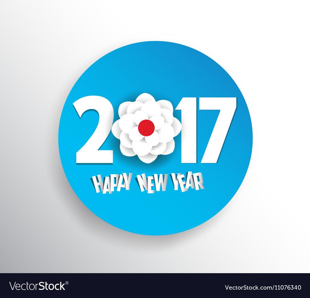 Happy new year 2017 Seasons Greetings blossom vector image