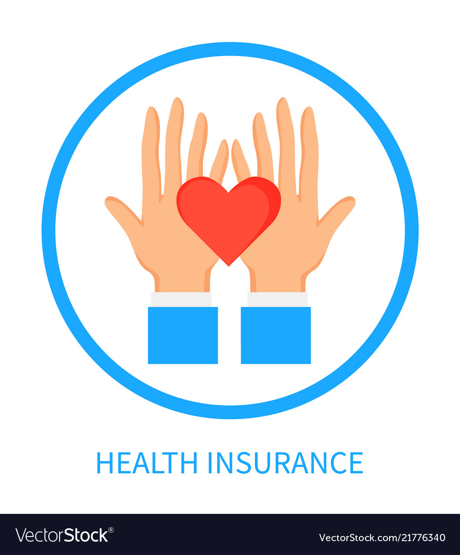 Health insurance logotype with hands and heart