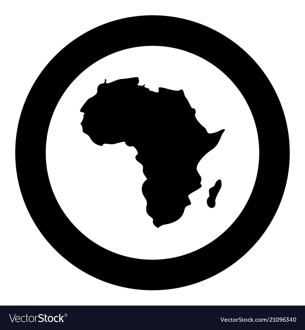 Map of africa icon black color in circle round Vector Image