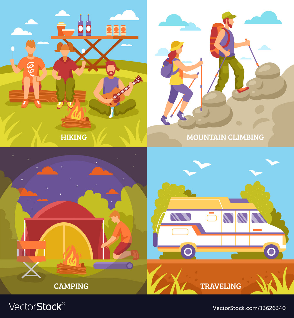 Outdoor recreation compositions set vector image