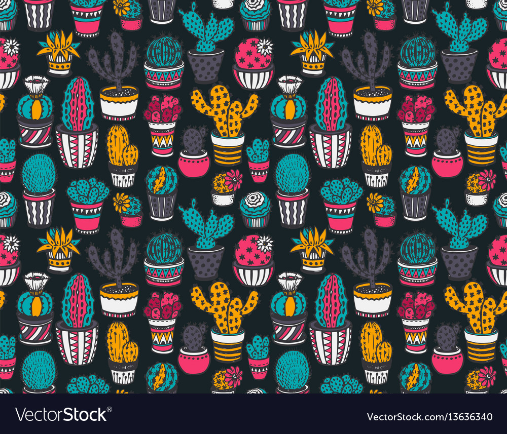 Seamless pattern with hand drawn cactuses