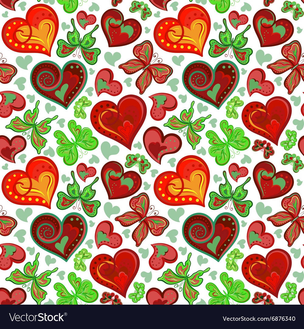 Seamless valentine pattern with colorful vintage