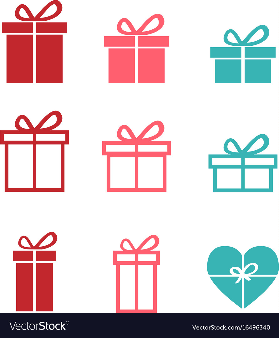Set of gift icons and symbol vector image