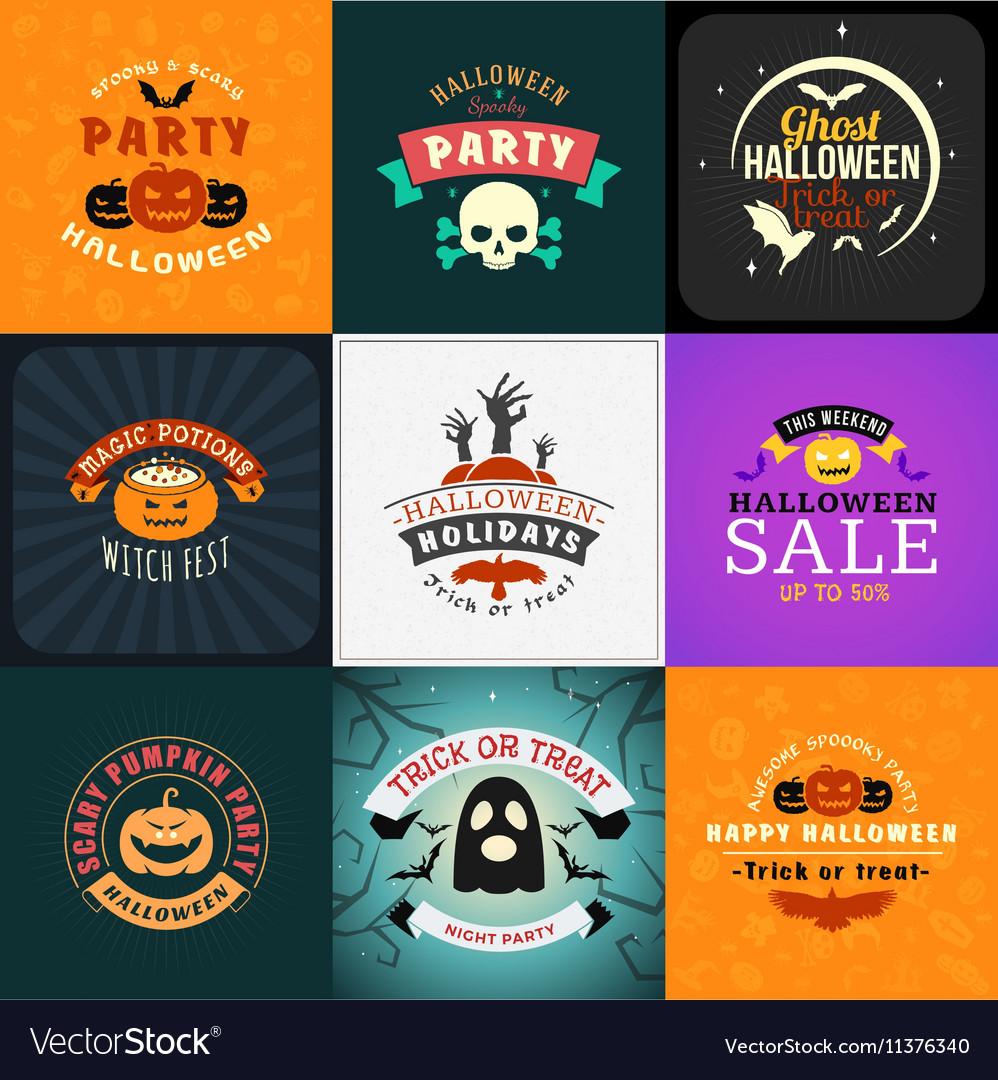 Set of Retro Happy Halloween Badges Design Element