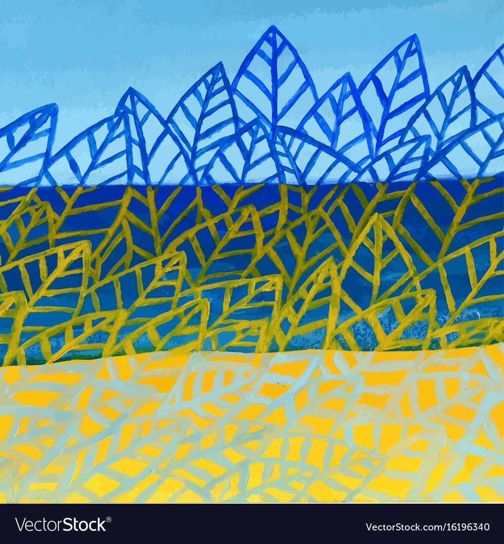 Summer nature acrylic abstract background leaves