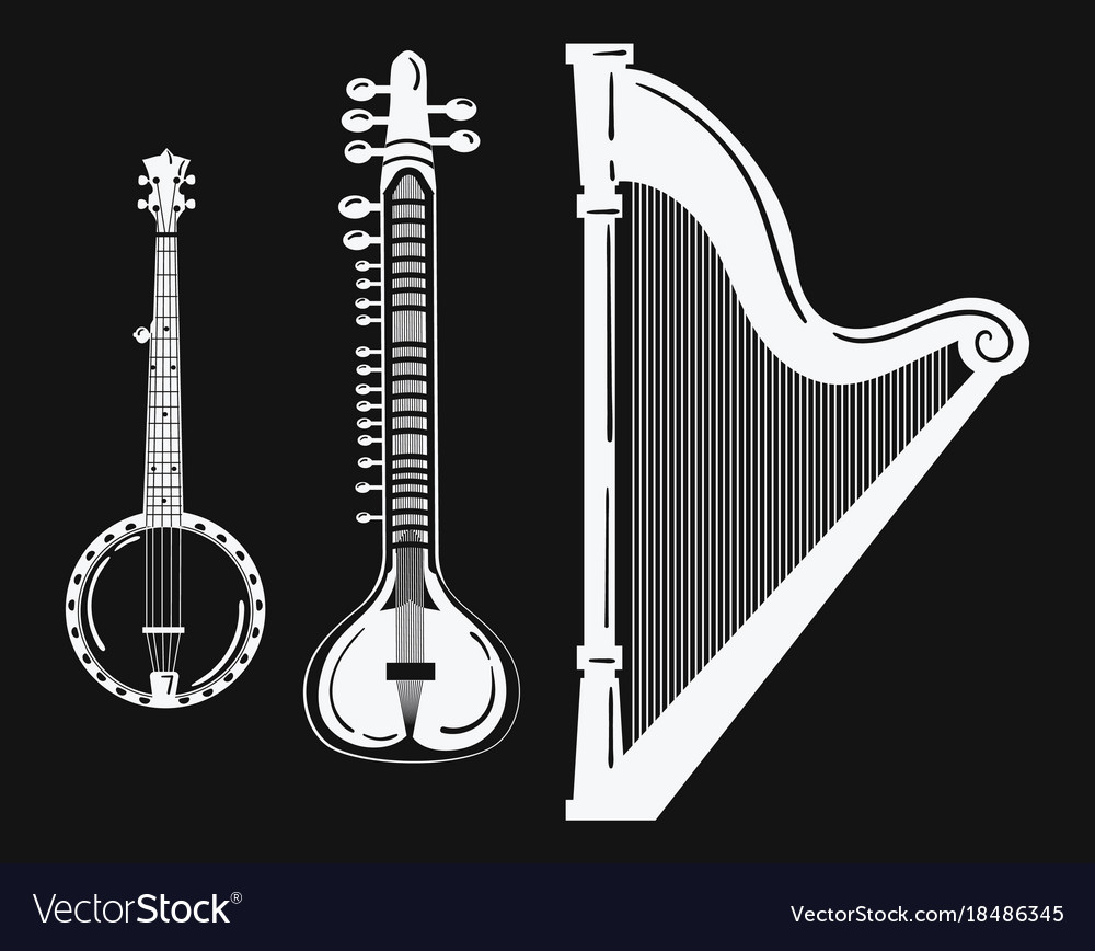 A set of musical instruments stylized harp black