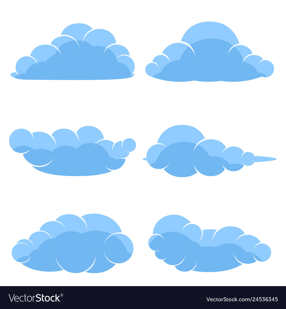Abstract cartoon icons blue clouds