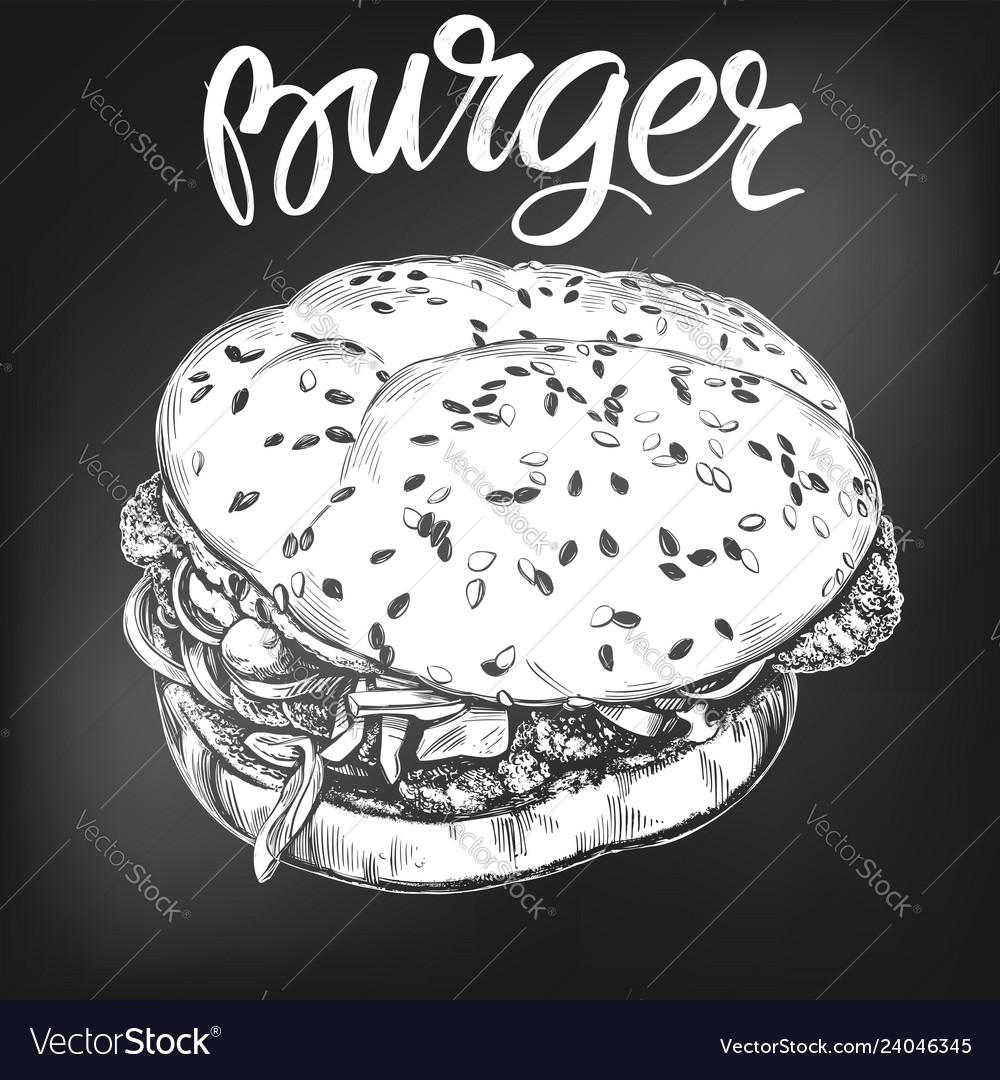 Burger hamburger hand drawn