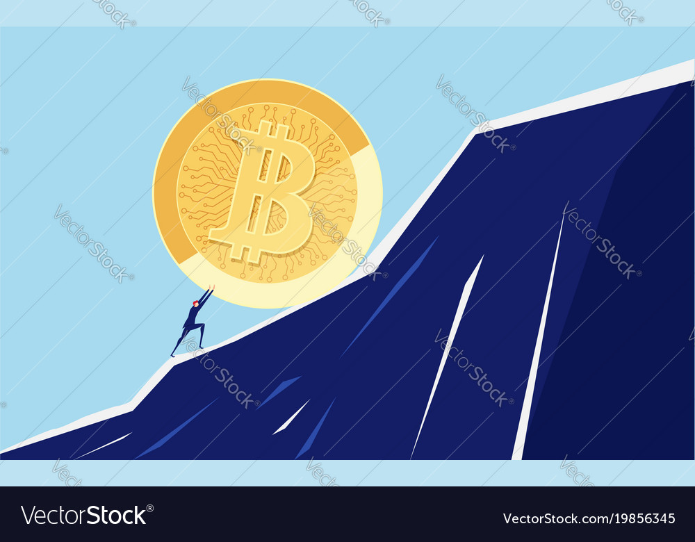 Businessman pushing a big bitcoin up the hill