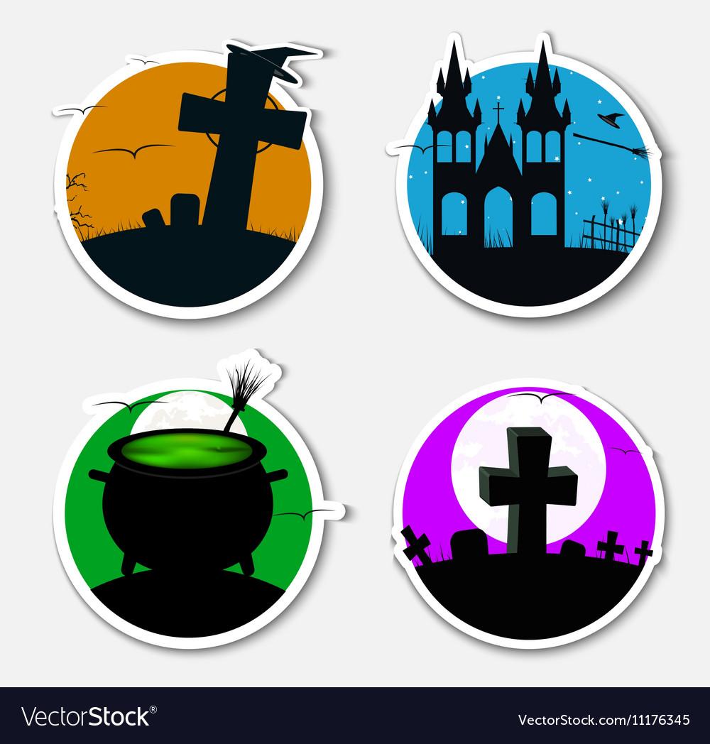 Design stickers icons on Halloween