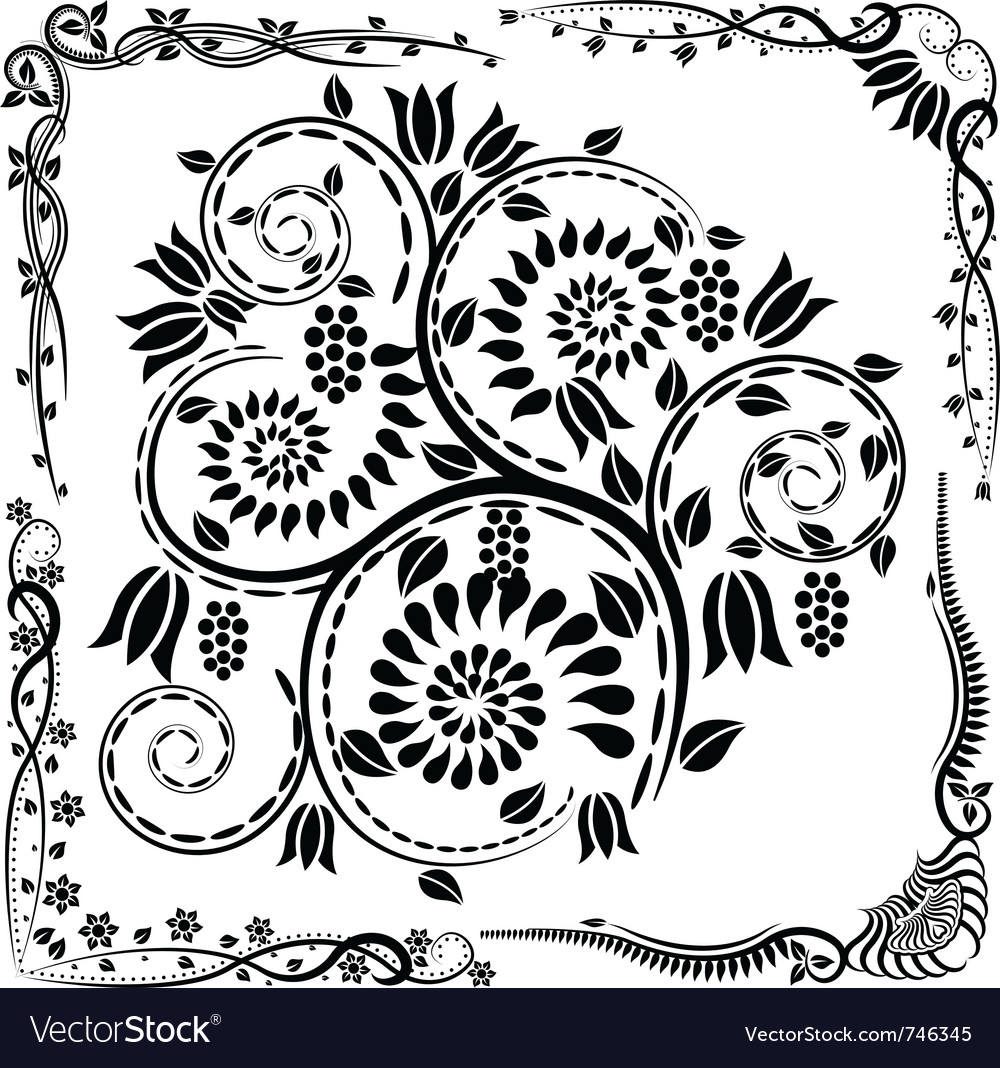 975837b0532 Floral corners and ornaments Royalty Free Vector Image